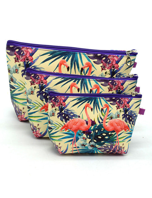 Flamingo 3 pcs Cosmetic bag - Crateen