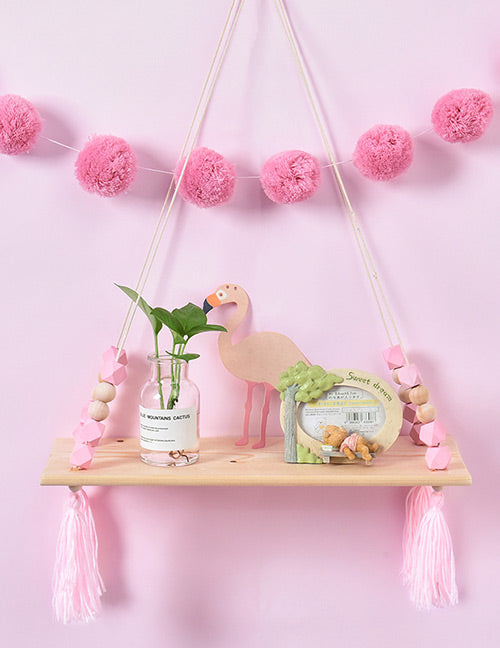 Pink Tassel Decorated Bookshelf