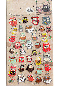 Owls Decorated Sticker