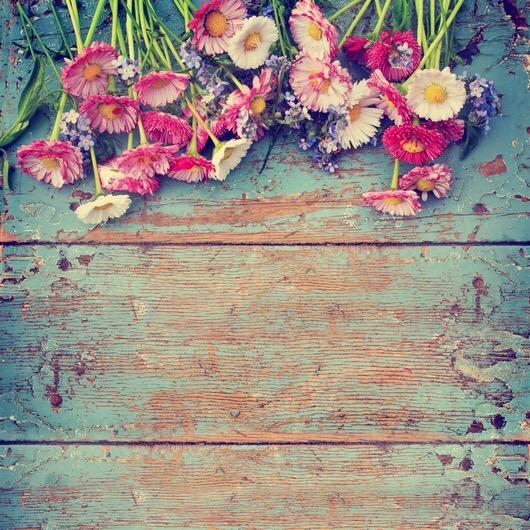 Flowers over Wood Photography Wallpaper - Crateen