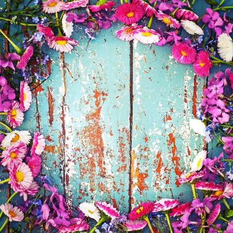Vintage Wood with Flowers Photography Wallpaper - Crateen