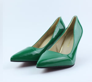 Green Shining Heel Shoes - Crateen