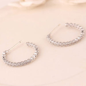 Charming Silver Diamond Earrings - Crateen
