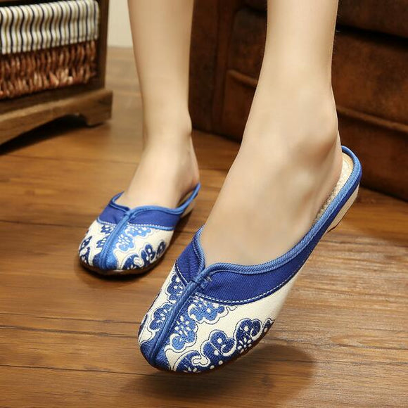 Blue Decored Fabric Shoes