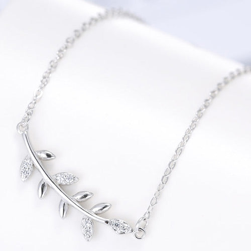 Fashion Silver Diamond Leaf Necklace - Crateen