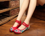 Red Closed Fabric Shoes - Crateen