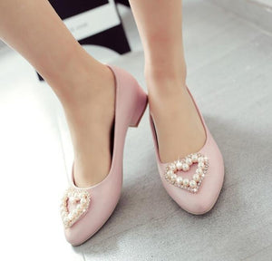 Heart Pink Flats Shoes for ladies