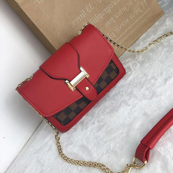 Buckle Patch Chain Strap Bag