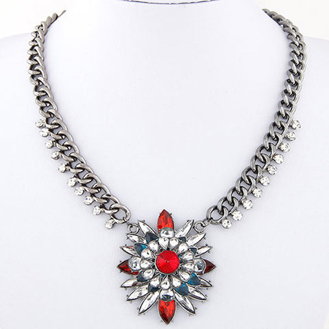 Red Multilayer Flower Necklaces - Crateen