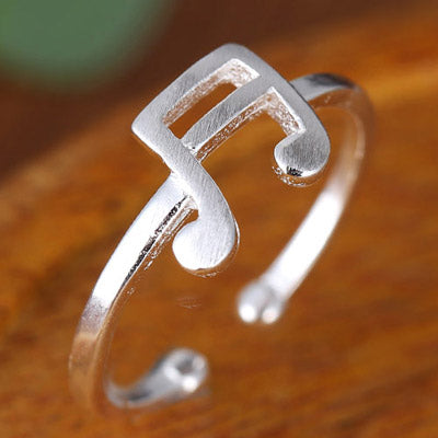 Sweet Silver Note Rings - Crateen