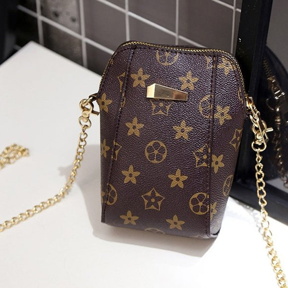 Chain Strapped Casual Printed Vertical Bag