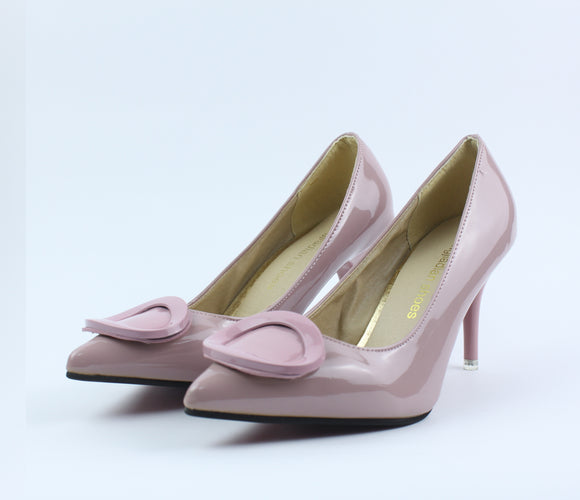 Pink Shining Heel Shoes - Crateen