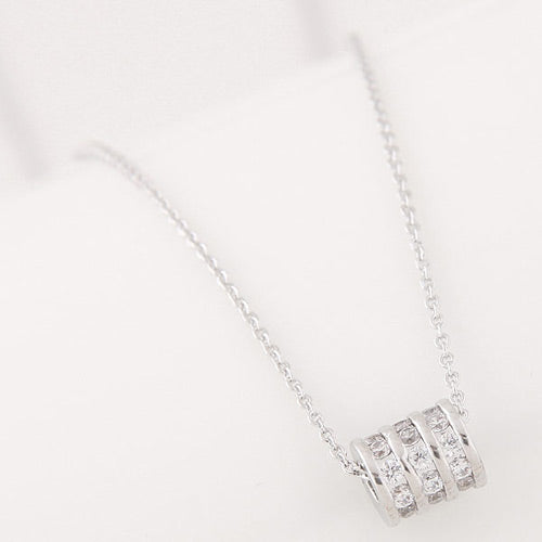 Silver Diamond round Necklace - Crateen