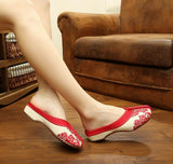 Red Open Fabric Shoes for girls