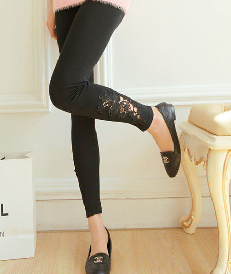 Black Decored Style Leggings for women