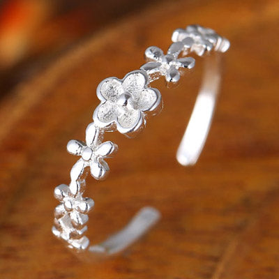 Sweet Silver Flower Rings - Crateen
