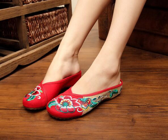 Red Open Decored Fabric Shoes