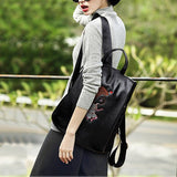 Embroidered Black Three Pieces Backpacks Set
