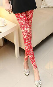Red Decored Leggings - Crateen