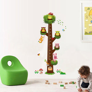 Owl & Tree With Ruler Wall Sticker