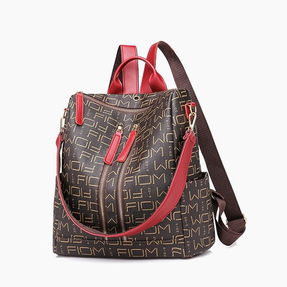 PU Leather Alphabetical Prints Backpack
