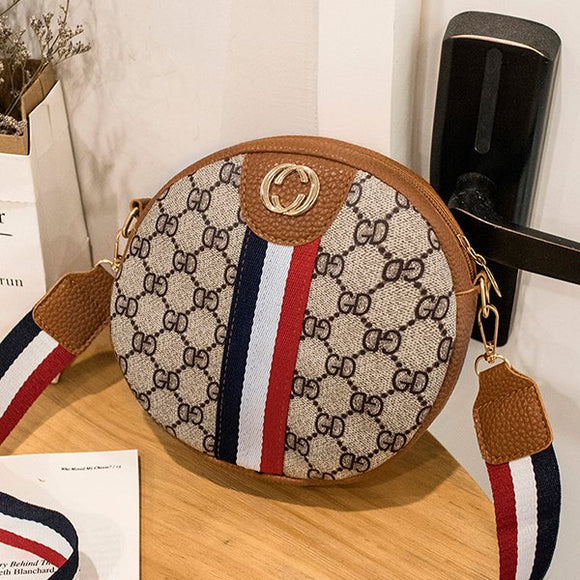 Striped Contrast Round Bag - Brown