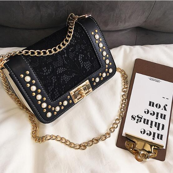 Lace Style Black Women Handbags