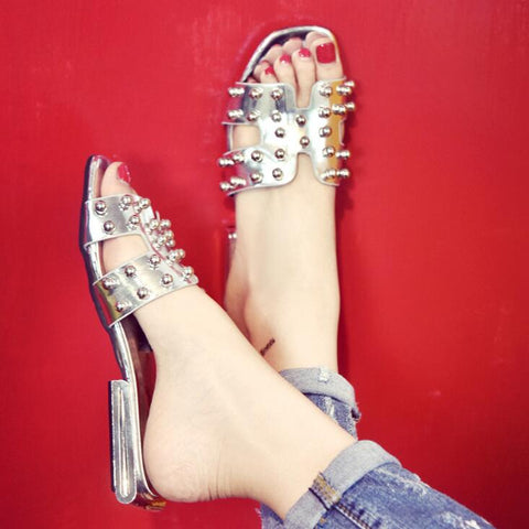 Silver Pearls Flat Shoes