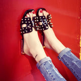 Black Pearls Flat Shoes