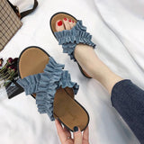 Blue Crossed Cloth Flat Shoes
