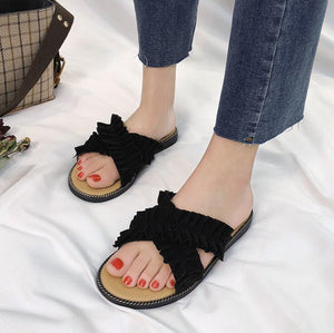 Black Crossed Cloth Flat Shoes