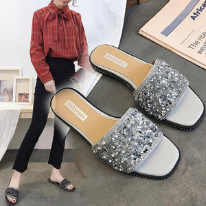Silver shiny Flat Shoes