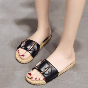 Black Belt Flat Shoes