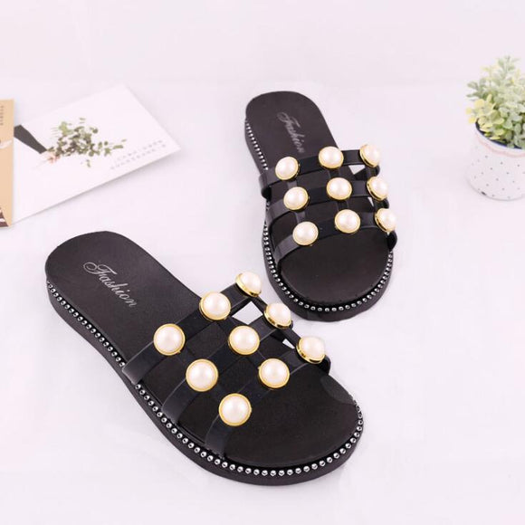Black Net Pearls Flat Shoes