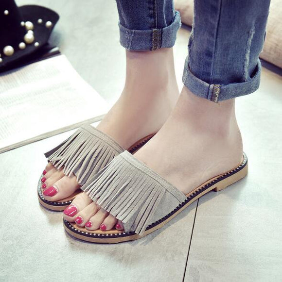 Grey Stripped Flat Shoes