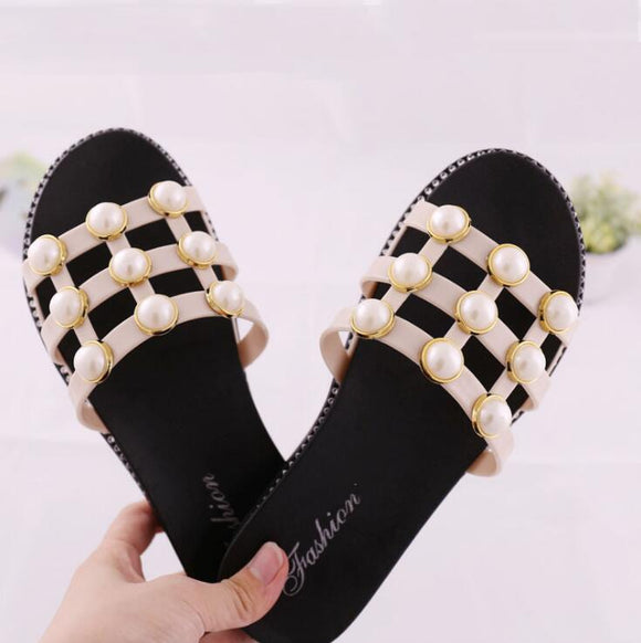 White Net Pearls Flat Shoes