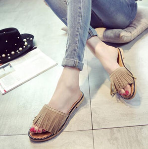 Brown Stripped Flat Shoes