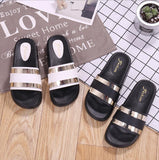 Black Strips Flat Shoes