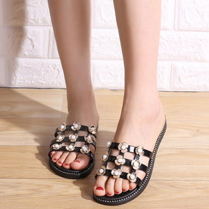 Black Net Flowers Flat Shoes