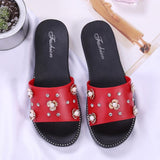 Red Flowers Flat Shoes