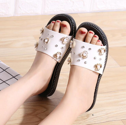 White Flowers Flat Shoes