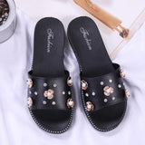 Black Flowers Flat Shoes