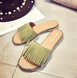 Green Stripped Flat Shoes