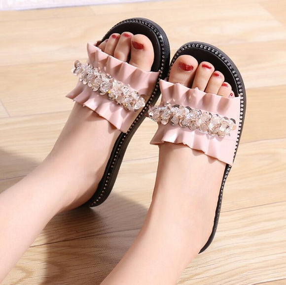 Pink Decorated Flat Shoes