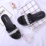 Black Decorated Flat Shoes