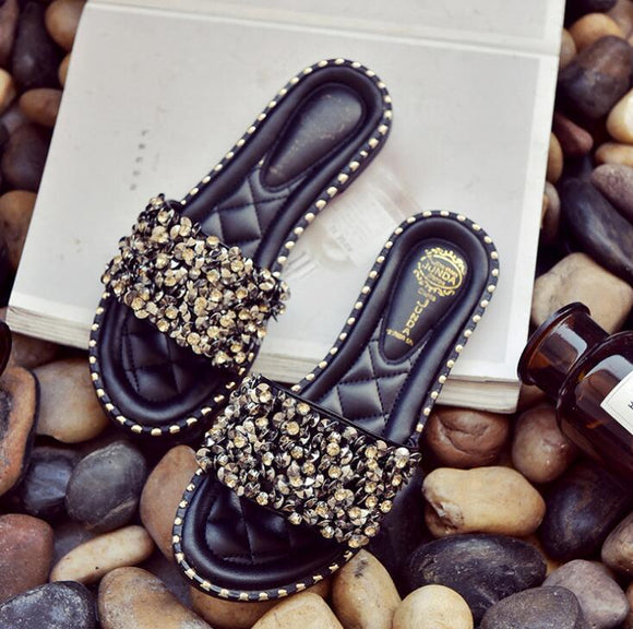 Shining Black Flat Shoes