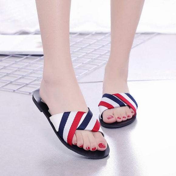White Colored Stripped Flat Shoes