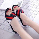 Black Colored Stripped Flat Shoes
