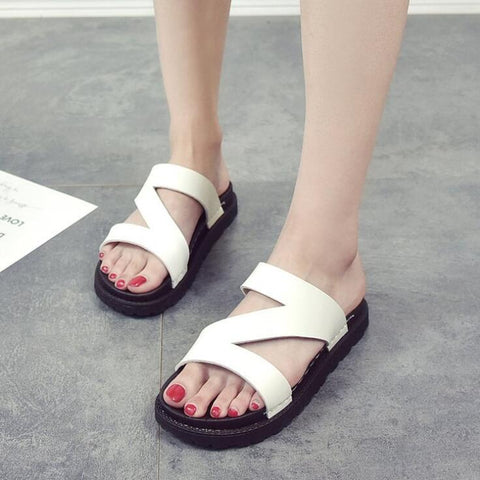 White Strap Flat Shoes