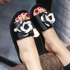 Black Rose Flat Shoes